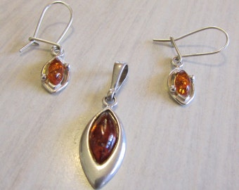 Sterling Silver and Amber Earrings and Pendant Set