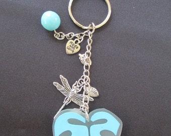 Dragonfly Key Chain, Charm Key Chain, Blue Leaf Key Chain