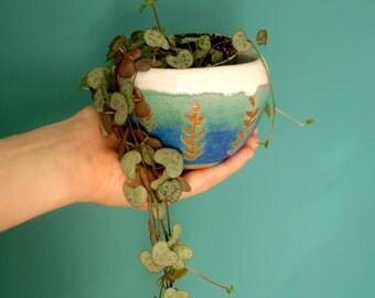 Hand Made Ceramic planter~ Leaf Design Blue and White~ Flower Pot~ Plant Pot
