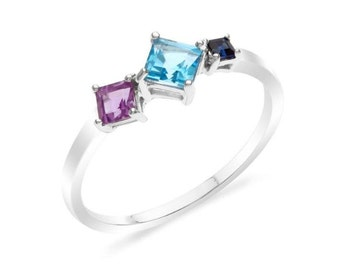 RSV00475A  Sterling Silver Amethyst , Blue Topaz , Blue Sapphire Ring.