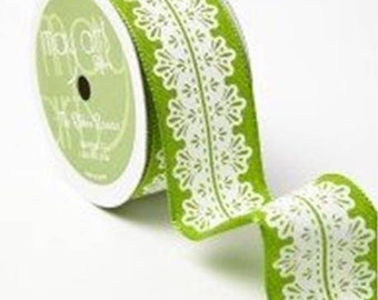 "May Arts Parrot Green 1.5"" Ribbon With White Lace Design, Wired. Crafting Supplies, Decorative, Gift Wrapping, Upholstery."