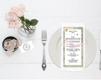 Wanderlust vintage map personalised menu cards - place card and menu - travel theme vintage wedding - destination wedding