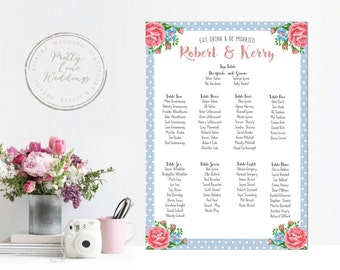 Afternoon tea polka and floral table plan - shabby chic - cath kidston style pink floral - A2 or A1 table plan - UK - Wedding