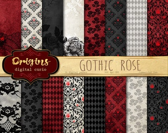Gothic Rose digital paper, rose lace, black and red damask halloween scrapbook paper, lace digital paper, goth backgrounds instant download