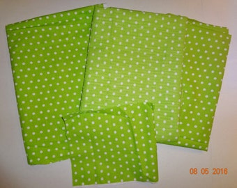 Lot of White Polka Dot on Green Seersucker Cotton Fabric Pieces - Assorted Sizes