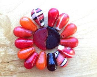 Red Orange Mali Wedding Beads -- 48