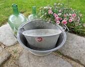 Zinc Laundry Basin Tub Bucket French Vintage Antique galvanized Wash basin Planter industrial garden tray storage basket magazine holder old