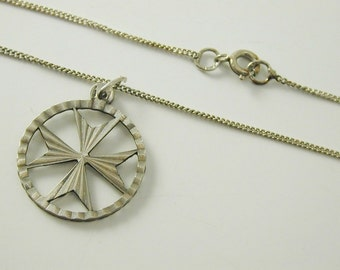 """Maltese Cross Pendant and chain 3.9g 18"""" long sterling silver"""