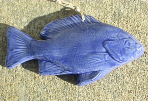 Ceramic Fish Art Tile -- Blue Gill fish glazed in French Blue, decorative tile