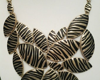 Gold and Black Ethnic Necklace / Gold and Black Bib Necklace.