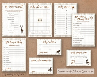 Deer baby shower games set, Woodland baby shower games, set of 8, Oh Deer theme - Instant download, Digital file, PRINTABLE - BSB005
