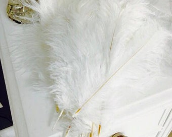 """SALE 100 pcs 12-14"""" White Ostrich Feathers/ Wholesale Lot/Bulk Lot/ Fast Shipping/ Great Gatsby/ Feather Centerpiece/ Hollywood Glam"""