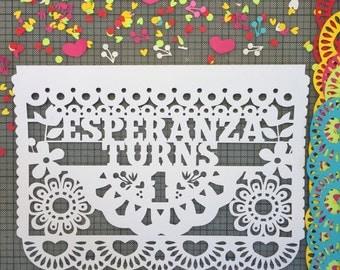 Papel Picado Flags, Mexican Fiesta Birthday Banners, Cinco de Mayo, Customized Fiesta Decorations