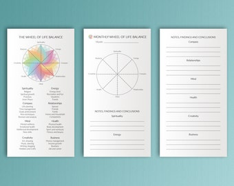 Midori Insert Wheel of Life Balance Midori Refills Balanced Life Balance Wheel Printable Midori Inserts TN refills Travelers Notebook PDF