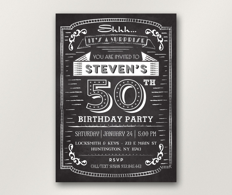 30th 40th 50th 60th Birthday Invitations For Men Surprise