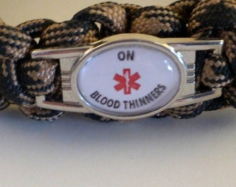 Blood Thinner Paracord Medical Alert  Bracelet, coumadin, warfarin, Stainless Steel Charm, Free Shipping
