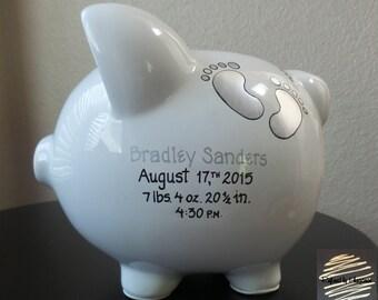 Large Baby Boy Piggy Bank, Newborn Piggy Bank, Baby's First Piggy Bank