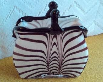 Vintage Hand-Blown Art Deco Brown and White Striped Clutch Purse Vase with black clasp