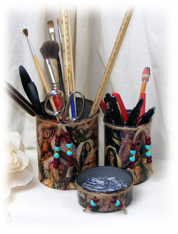 American Indian Decoupage DESK SET