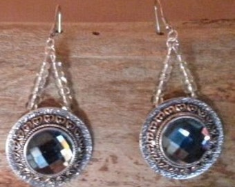 Beautiful Blue Cut Glass Dangle  Earrings