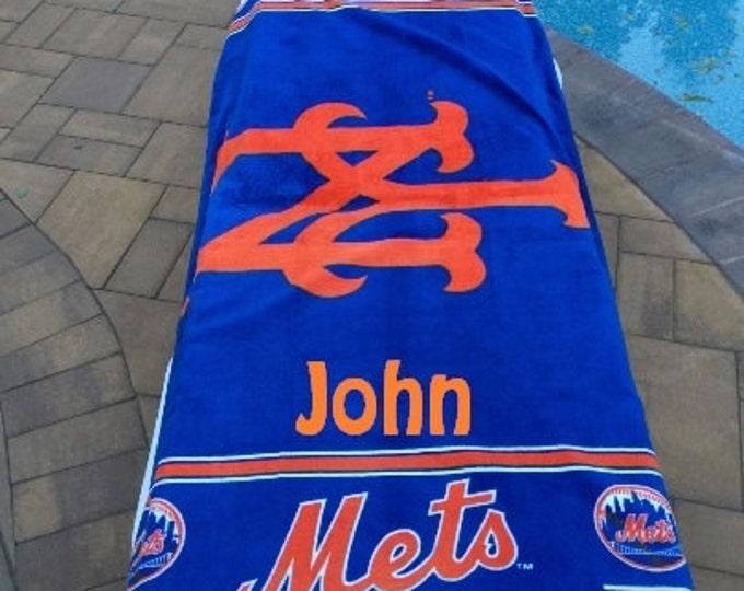 Baseball MLB New York METS Logo Beach Towel Personalized Beach Towel
