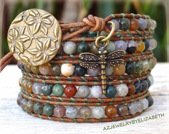 Handcrafted Gemstone And Leather Wrap Bracelet, Beaded Bracelet, Five Wrap Bracelet.
