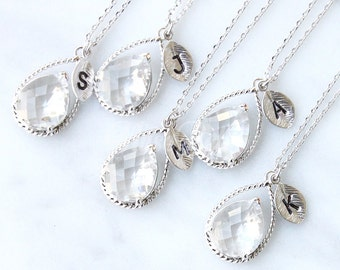 5% OFF, Bridesmaid gifts, Set of 4,5,6, Clear necklace, Clear jewelry, Personalized wedding necklace, Bridesmaid necklace, Bridal jewelry