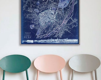 """Map of Munich 1832, Old Munchen Map, Blue or Sepia 3 sizes up to 30x24"""" (75x60 cm) Munich, Bavaria, Germany - Limited Edition of 100"""