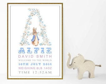 A4 Personalised Peter Rabbit Christening New Birth Birthday Gift/Present Baby Boys. Nursery Wall Art Print/Picture. Unframed.