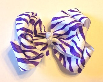 Purple Zebra Striped Double Looped Bow