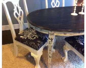 Customize your dining set: Shabby Chic tables with reupholstered chairs (examples of our work)