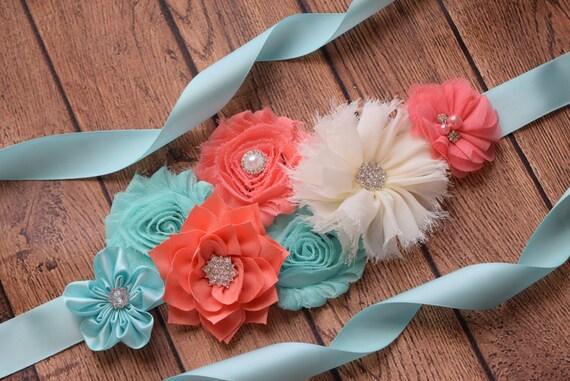 Sash, Aqua , coral and ivory Sash, #1 , flower Belt, maternity sash