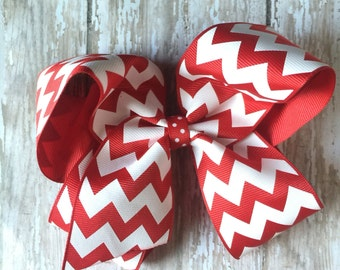 Red & White Stripe Extra Large Big Girl Southern Hair Bow