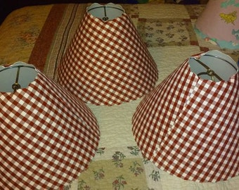 Red Gingham Checked Lamp Shade