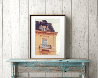 European Travel Photography, Baden Baden Germany, Balcony, Instant Download, Digital File, Printable Art, No.12