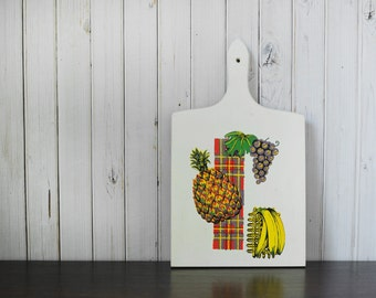 Vintage Cutting Board with Fruit Motif