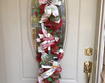 Christmas Door Swag, Winter Door Swag, Christmas mesh swag, Christmas deco mesh wreath, Winter deco mesh wreath, Christmas Garland, Railing