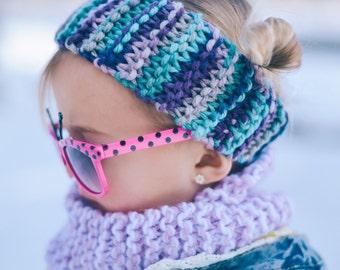 Pink/Purple/Aqua Handmade Toddler Earwarmer