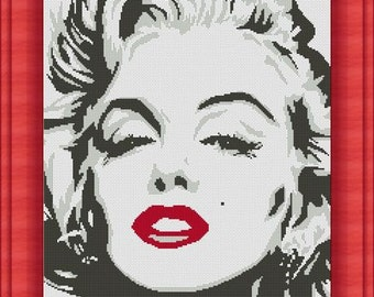 MARYLIN MONROE- Counted cross stitch pattern /grille point de croix ,Cross Stitch PDF, Instant download , free shipping