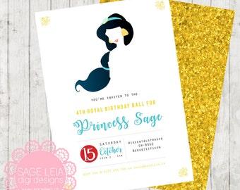 Custom Printable Disney Princess Jasmin Whimsical Gold Glitter Modern Party Birthday Celebration Invitation Invite Card