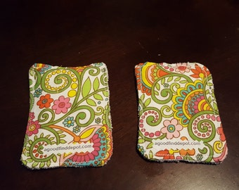 Handmade Kitchen Cleaning Cloth Cotton Fabric Print and Microfiber Set of 2 Reusable