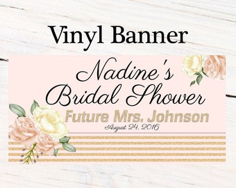 Wedding Bloom Party Vinyl Banner  ~ Wedding Shower Personalize Party Banners - Bridal Shower Banner