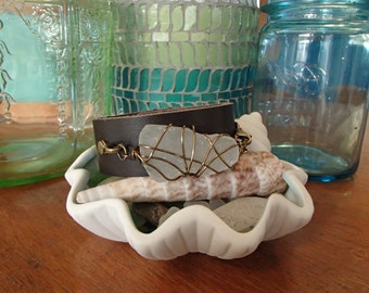 Seaglass Bracelet with Leather-Beautiful