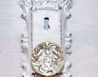 Sale! Vintage victorian door knob keyhole plate/ Shabby Chic crystal Door Knob Hook / cast iron Decor / Shabby Chic Decor / Curtain Tie Back