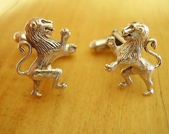 One Pair Scottish Rampant Lion Sterling Silver Cufflinks In Presentation Box