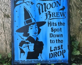 Moon Brew Witch Sign (Blue)
