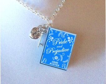 Pride And Prejudice with Lock and Key Charms - Miniature Book Necklace