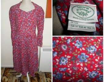 Vintage Retro Red Floral Flower Print Edwardian Victorian Prarie Cottage Style Dress By Laura Ashley UK Size 12 14