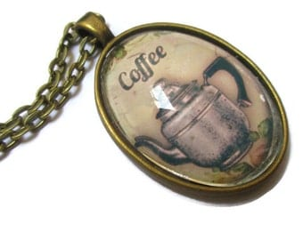 Picture Pendant, Coffee Art,  Necklace, Art Pendant,  Glass Necklace, Oval, Brass Tone, Coffee Pot