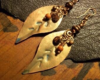 Copper Leaf Earring-Rustic Bohemian Earrings- Earthy Artisan Earrings-Boho Jewelry